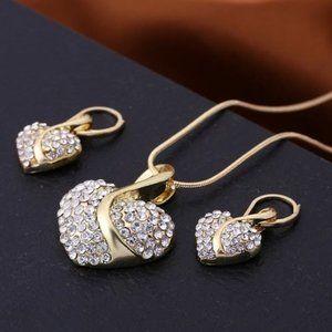 Gold Pendant & Earrings